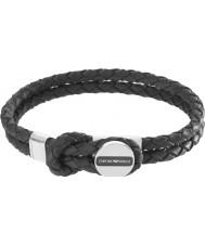 Emporio Armani EGS2178040 Мужская подпись черный кожаный браслет