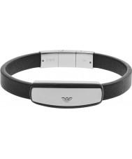 Emporio Armani EGS2186040 Мужская подпись черный кожаный браслет
