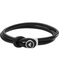 Emporio Armani EGS2212040 Мужские фирменные черные кожаные браслеты