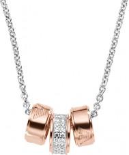 Emporio Armani EG3045040 Дамы подписи розового золота ожерелье с серебряной цепью Rolo